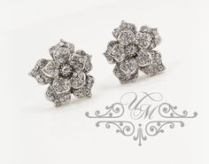 Rhinestone Rose earrings studs / Wedding Earrings / Weight : 5g each size : 19mm x 20mm / approx 0.75 inches 100% Brand New / https://www.etsy.com/listing/202342575/wedding-jewelry-bridal-earrings?ref=shop_home_active_17