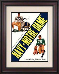 1955 Notre Dame Fighting Irish vs Navy Midshipmen 10.5x14 Framed Historic Football Program