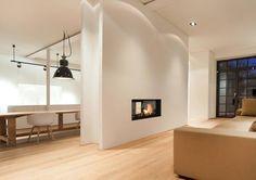 Arkitektur, vattenmantlad kamin med en toppmonterad pannmodul | JP Walther AB