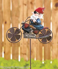 Motorcycle Harley Gnome Wind Spinner Yard Garden Decor Metal Stake | eBay