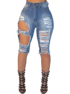 Fashion Women Raw Cut Holey Short Denim Jeans