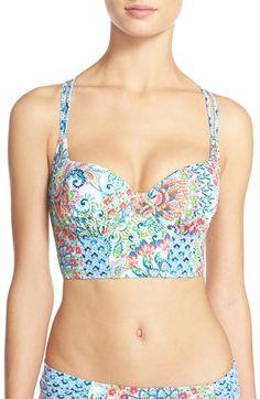 Women's Blush by Profile 'Peacock' Underwire Bustier Bikini Top, Size Small E(DD) - Orange