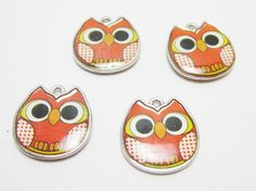 4 Orange Owl Charms 4087 by WhispySnowAngel on Etsy, $1.60
