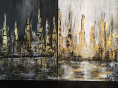 #abstract #painting #cityscape #blackwhite #gold #walldecor #modern - 2 piece 30x40 cm original structured acrylic abstract painting - Rita & Helga wall decor Wall Decor, Paintings, Black And White, Abstract, Modern, Gold, Art, Wall Hanging Decor, Summary
