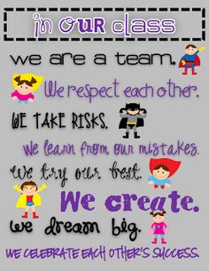 """Teaming Up To Teach: Superhero Classroom Theme. """"In Our Class We are a Team. Superhero School, Superhero Classroom Theme, Classroom Posters, Classroom Displays, Future Classroom, School Classroom, Classroom Themes, Classroom Organization, Classroom Design"""