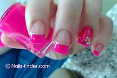 pink nail tips & design on one