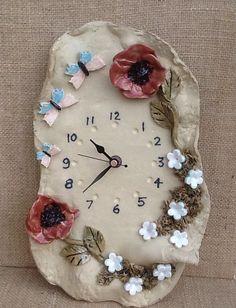 Poppy wall clock bright poppies white flowers by Sallyamoss, £32.00
