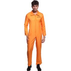 Orange Convict Suit - Adult Costume Men : MEDIUM | Halloween ...