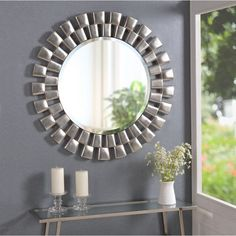 Craft an eye-catching focal point in the dining room or foyer with this modern sunburst collection of accents mirror. The mirror bevel is 1 inch wide. It is long lasting and will not cease to enhance the mood of your living space for many years to come. Sunburst Mirror, Round Wall Mirror, Diy Mirror, Dresser With Mirror, Mirror Bathroom, Wall Mirrors, Mirror Ideas, Round Mirrors, Kitchens