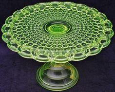 Antique Vaseline Glass   Beautiful Antique Vaseline Glass Thousand Eye Pattern Pedestal Cake ...