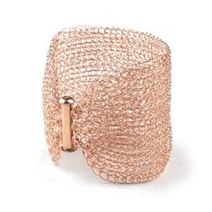 Rose Gold Cuff Bracelet , Wire crochet handmade jewelry, romantic , bridal jewelry