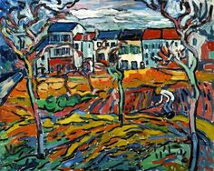 Maurice de Vlaminck - Houses at Chatou, c. 1905. Oil on canvas, 32 x 40 in. (81.3 x 101.6 cm). Art Institute of Chicago, IL, USA