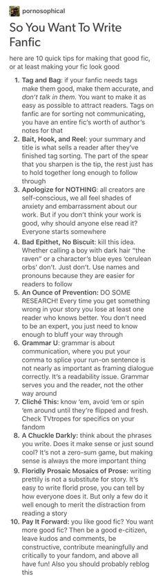 Fanfic writing tips