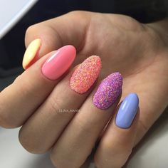 Bright summer nails, Colorful nails, Manicure by summer dress, Multi-color nails, Oval nails, Party nails, Sandy nails, Shimmer nails