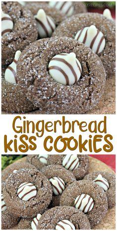 Gingerbread Kiss Cookies- new christmas cookie exchange idea. Gingerbread Kiss Cookies- new christmas cookie exchange idea. Mini Desserts, Cookie Desserts, Just Desserts, Dessert Recipes, Delicious Cookie Recipes, Kiss Cookies, Blossom Cookies, Oreo Dessert, Chewy Gingerbread Cookies