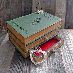 Book Jewelry Box hollow book secret safe hidden by FoxAndDyeDesign Upcycled Crafts, Easy Diy Crafts, Repurposed, Creative Crafts, Book Projects, Diy Craft Projects, Craft Ideas, Decor Ideas, Old Books