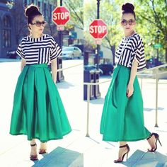 New Post: Emerald midi skirt + stripe crop now on the blog www.KTRstyle.com (will be adding this skirt to @KTRcollection custom fit) ♥ Happy Hump Day!! - @officialktr- #webstagram