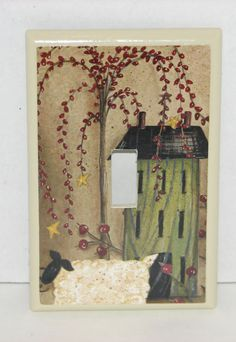 Primitive Country lamb Salt box House  Single switch plate cover Free Shipping #HANDCRAFTED #singleswitchplatecover