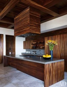 Terrific woods in this contemporary kitchen at George Clooney's Mexico home. | japanesetrash.com