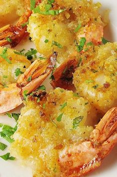 "Baked Shrimp Scampi | ""Yummy! Made it for my husband's birthday! Comparable to Red Lobsters baked shrimp. "" #copycat #copycatrecipes Shrimp Dishes, Shrimp Recipes, Copycat Recipes, Fish Recipes, Beef Recipes, Cooking Recipes, Baked Stuffed Shrimp, Baked Shrimp Scampi, Recipe Ideas"