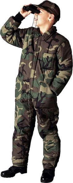 kids woodland camouflage insulated cold weather ski winter snow suit coveralls