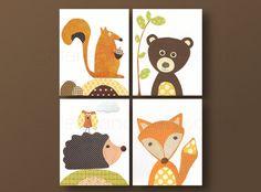Nursery wall art, kids room decor, baby nursery art, raccoon, bear, fox, hedgehog, playroom, set of four 8x10 in. prints by GalerieAnais via Etsy