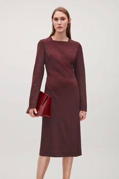 COS image 2 of Square-neck dress  in Burgundy
