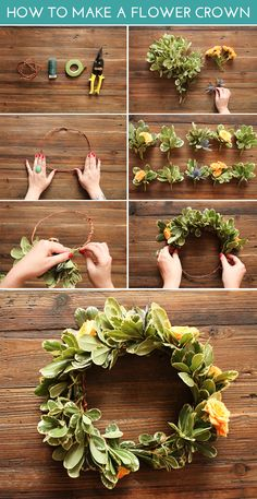 Instead of a crown, making centerpiece wreaths that lie flat on round tables, with candles or casein the middle.