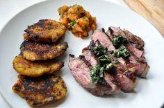 Steak w/board sauce & fried smashed plantains w/apricot cilantro chutney