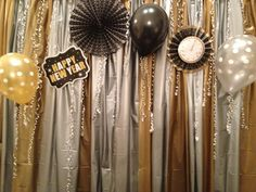 New Years Eve Photo Booth back drop. I would add more shine of course