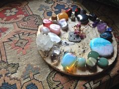 The Aries Witch ♈ Wicca crystal altar - earth dedication - healing - meditation - pagan - witchcraft - opalite - aventurine gemstones - amethyst - rose quartz - sodalite - lapis lazuli - Gems And Minerals, Crystals Minerals, Crystals And Gemstones, Stones And Crystals, Gem Stones, Natural Crystals, Natural Stones, Healing Stones, Crystal Healing