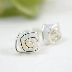 Opalescent glass post earrings spiral sterling by SueRunyonDesigns, $14.50