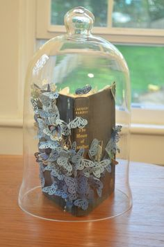 book and butterfly bell jar