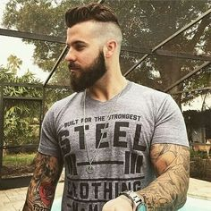 Cute short and full beard styles for men are changing rapidly and gaining lot of importance in the male society. Full beard style is the most popular trend Beard Styles For Men, Hair And Beard Styles, Hair Styles, Short Beard Styles, Medium Beard Styles, Goatee Styles, Bart Tattoo, Beard Neckline, Sexy Bart