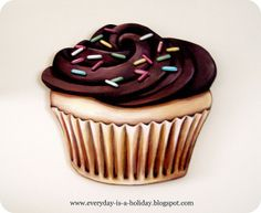 JUMBO Chocolate frosted Cupcake wood diecut by Everyday is a Holiday