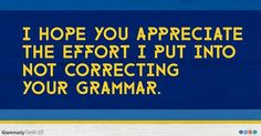 I hope you appreciate the effort I put into not correcting your grammar.