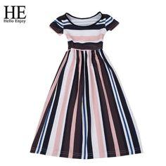 97b8ce21a Girl Summer Princess Dress Girl Clothes Fashion Short Sleeve Striped  Pleated Dresses kids dresses for girls. Vestido Largo RayasManga Corta Vestidos ...