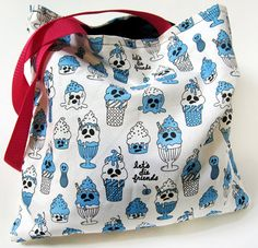Ghost ice cream sundae tote bag