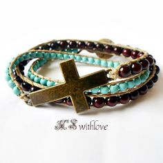 Bronze cross bracelet boho beaded turquoise wrap by MSwithlove
