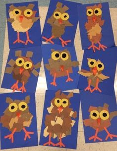Cute fall craft for kids- torn paper owl! Whooo thinks this such an adorable craft for preschool and kindergarten kids?