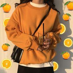 orange sweatshirt, orange outfit, pastel outfit, pastel clothes, pastel grunge, pastel, aesthetic sweatshirt, soft grunge, monochrome, boogzel apparel