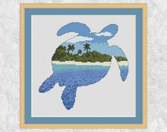 Cross stitch pattern of the silhouette of a turtle filled with a view of a desert island beach, blue sea and sky.  For other animals in my range please see https://www.etsy.com/uk/shop/ClimbingGoatDesigns?ref=l2-shopheader-name&section_id=18537473  • Stitch count: 104 wide x 102 high • Approximate size on 14 count aida: 7.4in wide x 7.3in high (18.9cm wide x 18.5cm high) • 13 colours, DMC numbers given • Uses full cross stitches and backstitch; no fractional stitches • Stitch on fabric of…