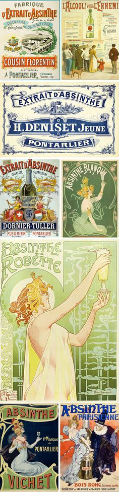 absinthe labels  http://www.wileyvalentine.com/blog/2010/08/25/absinthe-inspired-the-green-fairy/#