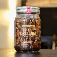 Decadents in a jar. 100% pure raw wildflower honey paired with local raw pecans add southern sweetness to any dish. From fresh salad greens and a perfectly aged balsamic vinegar, to topping warm bree,