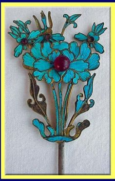 Vintage Jewelry | ANTIQUE CHINESE KINGFISHER HAIR JEWELRY For Sale | Antiques.com ...
