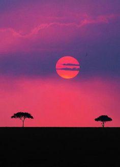 Sunset over Maasai Mara Game Reserve, Kenya