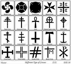 Diferentes Tipos De Cruces Y Sus Significados Ilustraciones Vectoriales, Clip Art Vectorizado Libre De Derechos. Image 26945602.