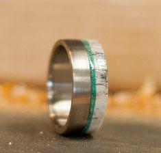 Mens Wedding Band Offset Antler & Jade Ring by StagHeadDesigns