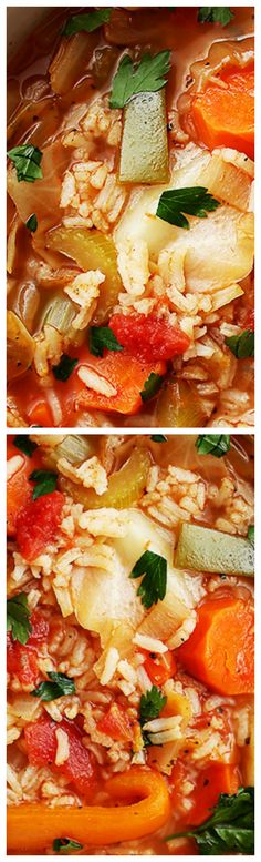 Cabbage Soup with Rice ~ Healthy, hearty and delicious cabbage soup with rice and vegetables.