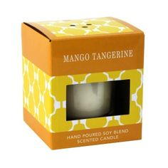 """by Smart Living Company This yummy candle is like Vitamin C for your nose! The essence of mandarin, tangerine and citrus verbena are made to sparkle with bergamot and granny smith apple, all layered by vanilla and amber. 5.5oz. Lead and tin free cotton wick. Burn Time: 30 Hours. 3.5"""" x 3.5"""" x 4""""   Soy Blended Wax www.allgooddecor.com/shop.html #allgooddecor #decorations #gifts #candles #toys #discount #furniture #candleholders #home #figurines #lighting #pictures #mirrors #jewelry #garden"""